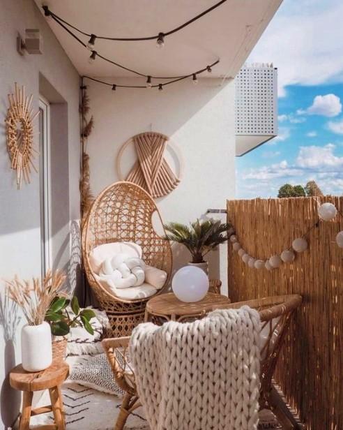 μπαλκόνι bamboo έπιπλα ξύλινη καλαμωτή