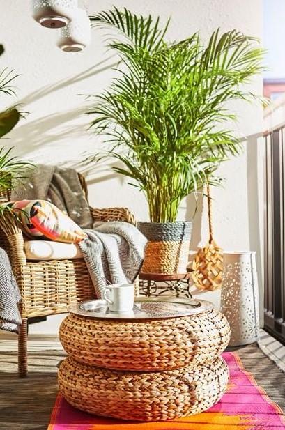 μπαλκόνι bamboo έπιπλα τραπέζι καρέκλα