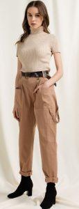 μπεζ cargo γυναικείο παντελόνι