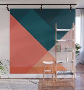πολύχρωμος τοίχος με γεωμετρικά σχέδια
