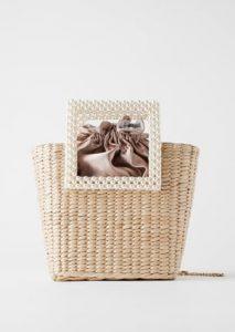 ψάθινη τσάντα με πέρλες