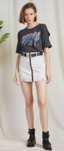 ψηλόμεση jean φούστα με φερμουάρ