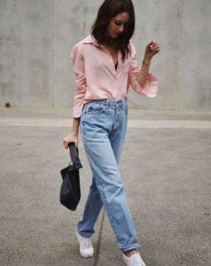 ροζ απαλό πουκάμισο τζιν παντελόνι