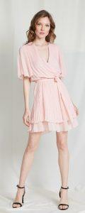 ροζ ντραπέ φόρεμα με τούλι