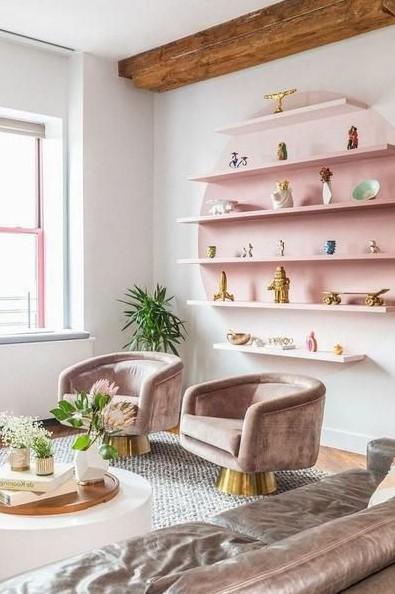 ροζ ράφι κύκλο ροζ πολυθρόνες