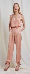 ροζ σατέν παντελόνι με λάστιχο