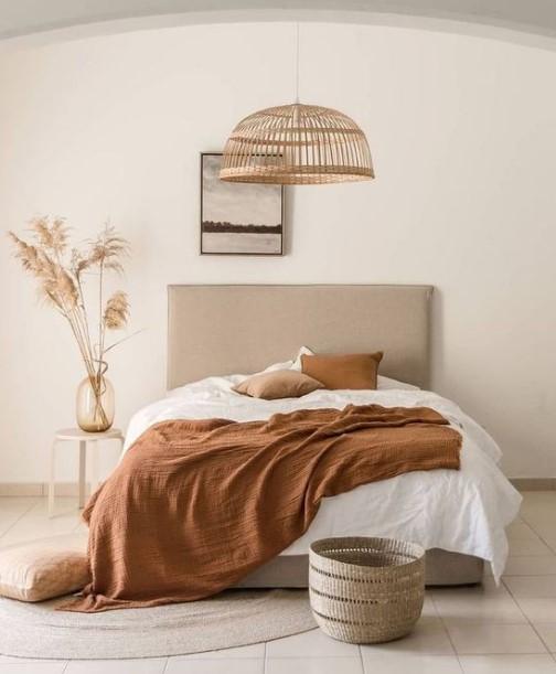 απλό υπνοδωμάτιο σε nude αποχρώσεις