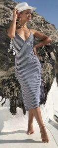 ριγέ ελαστικό εξώπλατο φόρεμα