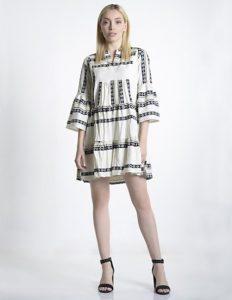 boho ασπρόμαυρο φόρεμα