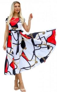 εμπριμέ μίντι φόρεμα parizianista