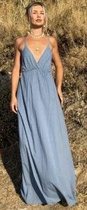 φαρδύ καλοκαιρινό φόρεμα με τιράντες