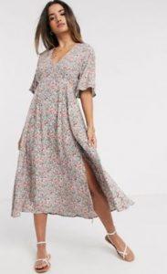 floral αέρινο φόρεμα midi