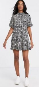 floral ασπρόμαυρο φόρεμα asos