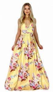 floral κίτρινο μακρύ αέρινο φόρεμα