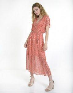 φόρεμα ροζ βολάν