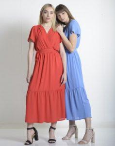 φόρεμα βολάν κόκκινο γαλάζιο ρούχα paranoia καλοκαίρι