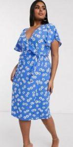γαλάζιο φόρεμα floral midi
