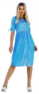 γαλάζιο πουά φόρεμα με κουμπιά