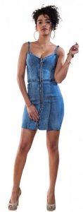 jean ελαστικό φόρεμα με φερμουάρ