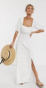 καλοκαιρινό άσπρο μακρύ φόρεμα