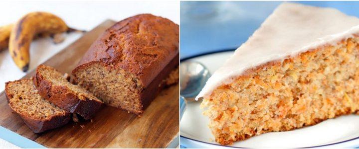 2 Μοναδικές συνταγές για κέικ καρότου και κέικ μπανάνας!