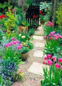κηπος με λουλουδια