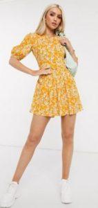 κίτρινο φλοράλ μίνι φόρεμα