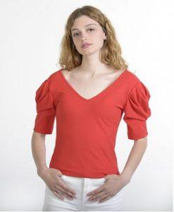κόκκινη μπλούζα φουσκωτά μανίκια ρούχα paranoia καλοκαίρι