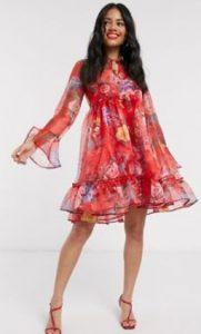 κόκκινο αέρινο φλοράλ μίνι φόρεμα