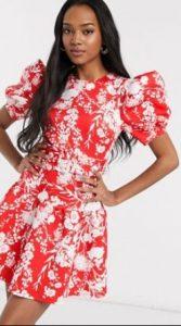 κόκκινο φλοράλ φόρεμα