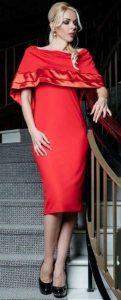 κόκκινο φόρεμα με βολάν για γάμο