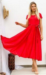 κόκκινο κοντομάνικο κλος φόρεμα