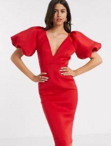 κόκκινο midi φόρεμα με φουσκωτά μανίκια