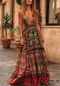 καφε φορεμα μακρυ