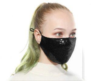 μάσκα μαύρη με παγιέτα μοντέρνες μάσκες προσώπου
