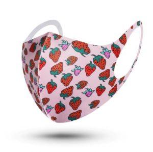 μάσκα προσώπου ροζ με φράουλες
