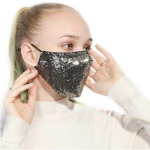 μάσκα χρυσή με παγιέτα μοντέρνες μάσκες προσώπου