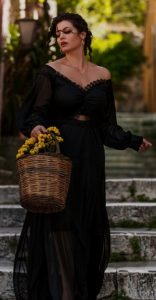 μαύρο maxi φόρεμα με διαφάνεια