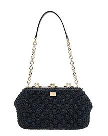 μαύρη πλεκτή τσάντα