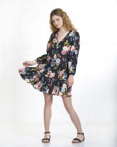 μαύρο φλοράλ φόρεμα