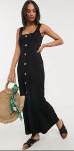 μαύρο maxi φόρεμα με κουμπιά