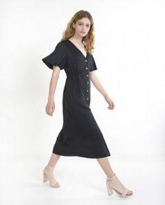 μαύρο μίντι φόρεμα κουμπιά