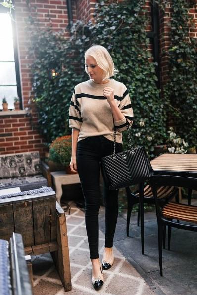 μαύρο παντελόνι μπαλαρίνες μαύρη τσάντα