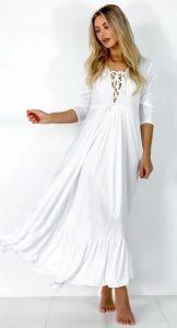 λευκό καλοκαιρινό φόρεμα κορδόνια ντεκολτέ