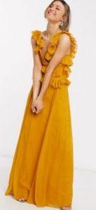 μουσταρδί maxi φόρεμα για γάμο