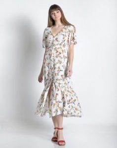 midi φόρεμα φλοράλ άσπρο