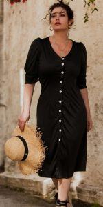 midi φόρεμα με φουσκωτά μανίκια και κουμπιά