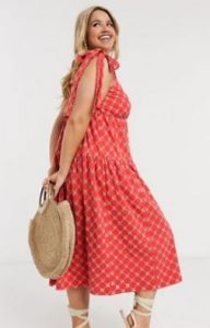 midi κόκκινο καλοκαιρινό φόρεμα