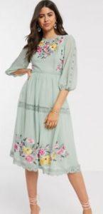 midi λουλουδάτο φόρεμα