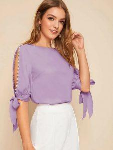 μοβ κομψή μπλούζα